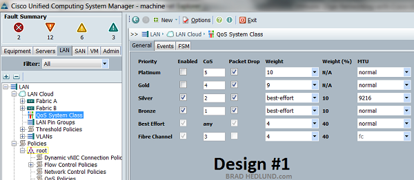 UCS Manager QoS System Class settings for Design #1