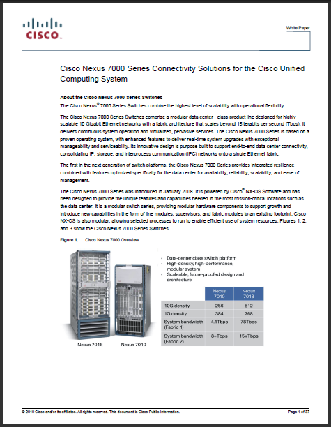 Cisco Nexus 7000 connectivity solutions for Cisco UCS